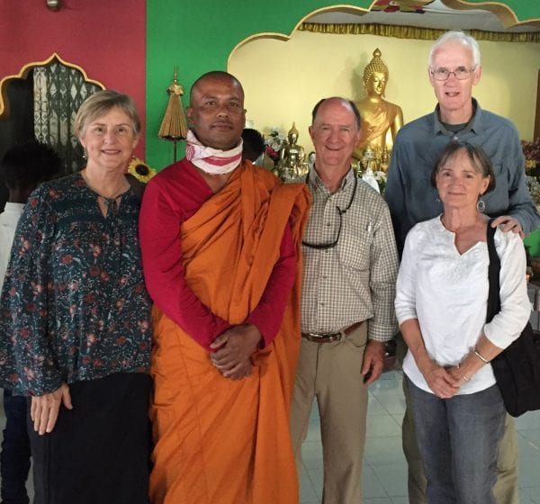 With Buddhist monk at Tai Phakes monastery in Namphake, Assam Valley, India with my brother and sister-in-law and my husband.